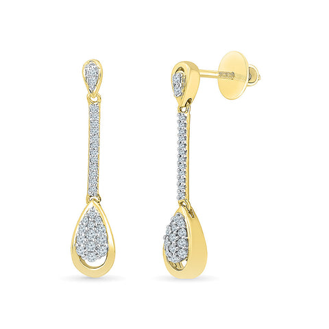 Dancing Cluster Diamond Drop Earrings in 14k and 18k gold