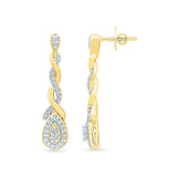Pleated Gold and Diamod Dangler Earrings