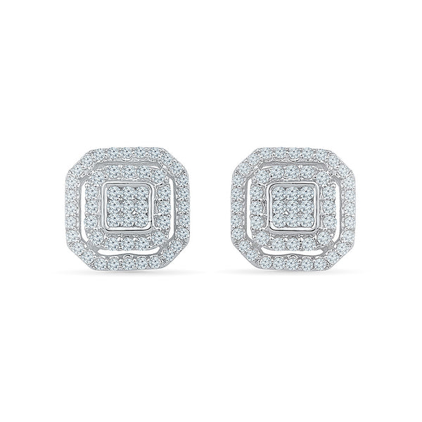 Deco Square Diamond Stud Earrings in 14k and 18k gold