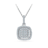 bold square diamond pendant in 14k and 18k Gold online for women