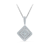 Pretty Princess Cut Diamond Pendant in 14k and 18k Gold online for women