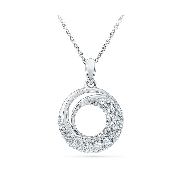 heavily studded round diamond pendant in 14k and 18k Gold online for women