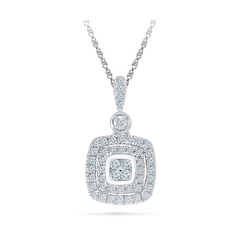 Diamond Accent Square Pendant