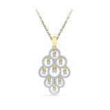 14k and 18k Gold Luxurious Bunch Diamond Pendant in Prong setting online for women