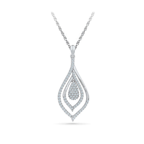 Alluring Almond Diamond Pendant in 14k and 18k Gold online for women