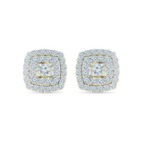 Square Motif Diamond Studs in 14k and 18k gold for women online