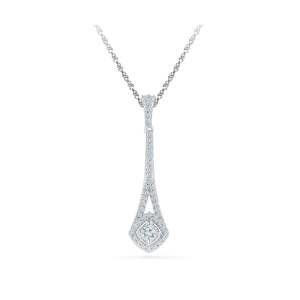 Rhombus Drop Diamond Pendant in 14k and 18k Gold online for women