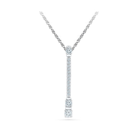 Diamond Stud Bar Pendant in 14k and 18k Gold online for women