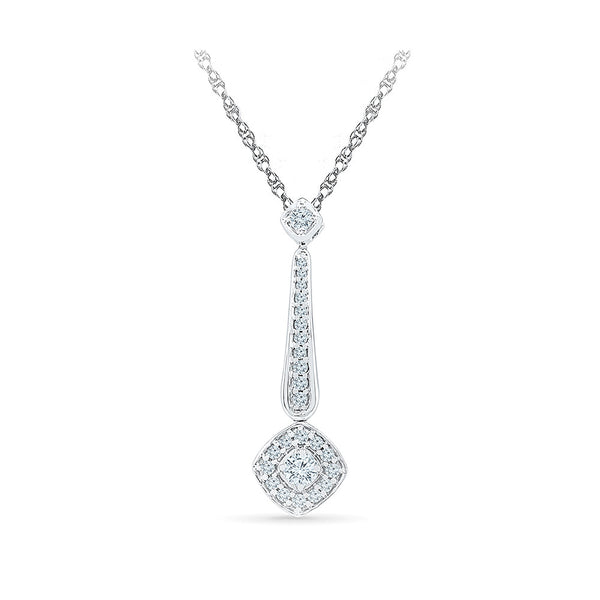 Precious Rhombus Drop Diamond Pendant in 14k and 18k Gold online for women