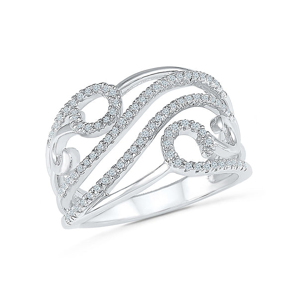 14kt /18kt white and yellow gold Swirl In Style Diamond Cocktail Ring in PRONG setting for women online