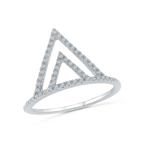 14kt / 18kt white and yellow gold Geometric Ternion Cocktail Ring in PRONG for women online