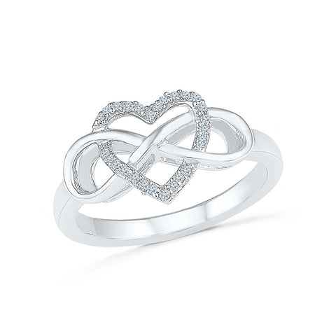 14kt /18kt white and yellow gold Infinity Heart Diamond Ring in PRONG setting for women online