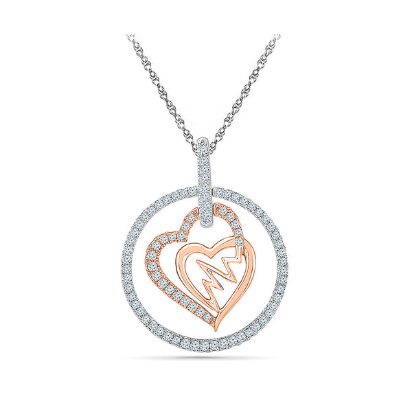 Valentine Heartbeat Duo Diamond Pendant for women online in gold