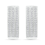 Three layered diamond studded huggie earrings
