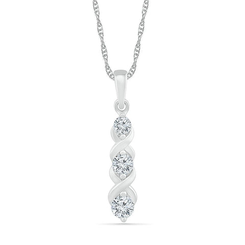 Hugs and Kisses 3 Stone Diamond Pendant