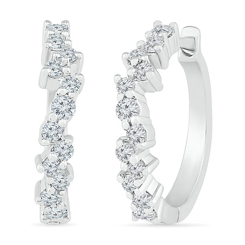 Breath Taking Scattered Diamond Hoop Earring