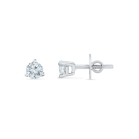 Petite Solitaire Diamond Stud Earrings for kids in gold
