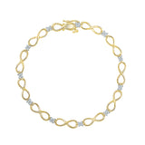 9/14/18 Carat White/Yellow Gold Infinity Casual Wear Bracelet with Prong Set Diamonds