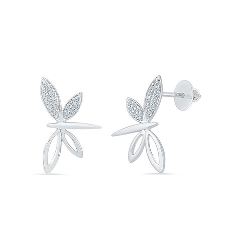 Fancy Dragonfly Diamond Stud Earrings in 92.5 Sterling Silver for women online