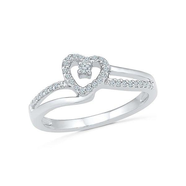 14kt / 18kt white and yellow gold Heart on Hand Everyday Diamond Ring in PRONG for women online
