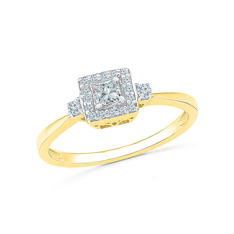 14kt / 18kt white and yellow gold Beautiful Princess Diamond Engagement Ring in PRONG and CHANNEL setting online for women