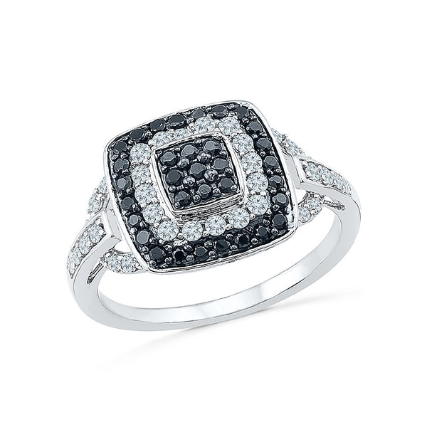 14kt / 18kt white and yellow gold Black Bejewel Diamond Cocktail Ring in PRONG for women online