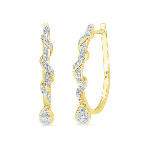 Swirl Dance Diamond Hoop Earrings in 14k and 18k gold