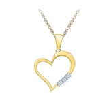 romantic three diamond heart pendant in 14k and 18k Gold online for women