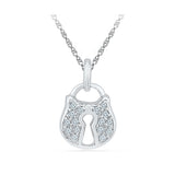 Lock and Key Diamond Pendant in 14k and 18k Gold online for women