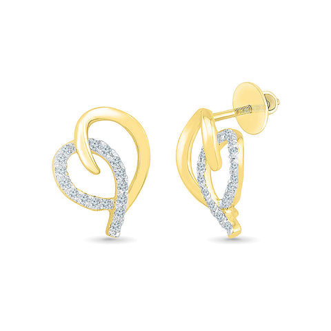 Dainty Diamond Embrace Stud Earrings in 14k and 18k gold