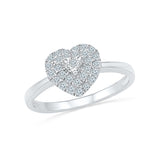 14kt / 18kt white and yellow gold Heart Stare Everyday Diamond Ring in Prong and Miracle setting online for women