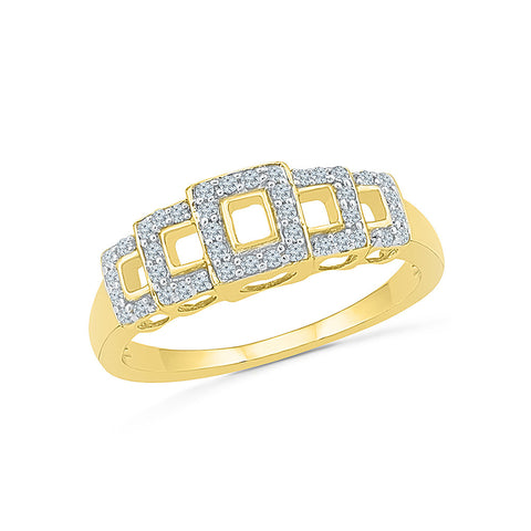14kt / 18kt white and yellow gold Square Slade Diamond Cocktail Ring   in PRONG for women online
