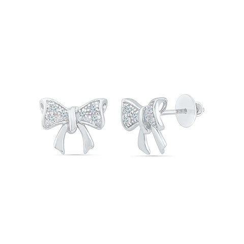 Pretty Bow Tie Stud Earrings in 92.5 Sterling Silver for women online
