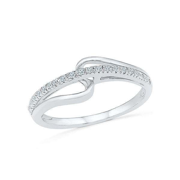14kt / 18kt white and yellow gold Indented Everyday Diamond Band Ring in PRONG for women online