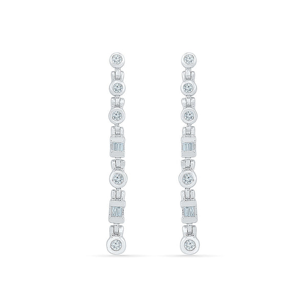 Spunky Slender Diamond Hoop Earrings