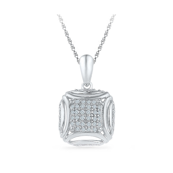 Multi Diamond Square Pendant in 14k and 18k Gold online for women