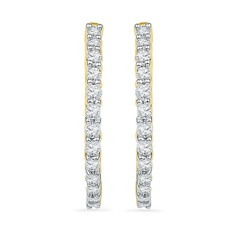 Slender Diamond Hoop Earrings
