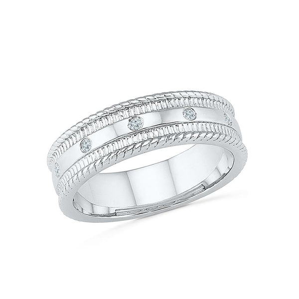 Silver diamond band mens ring