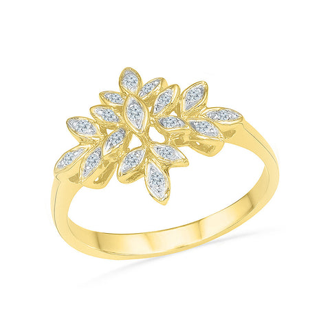14kt / 18kt white and yellow gold detailed floral design  in BEZEL for women online