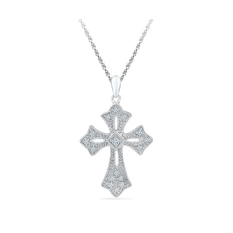 Silver Designer pendant in Prong Setting with Diamonds