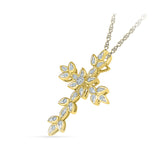 Floral Cross Diamond Pendant