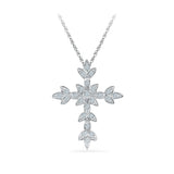Floral Cross Diamond Pendant in 14k and 18k Gold online for women