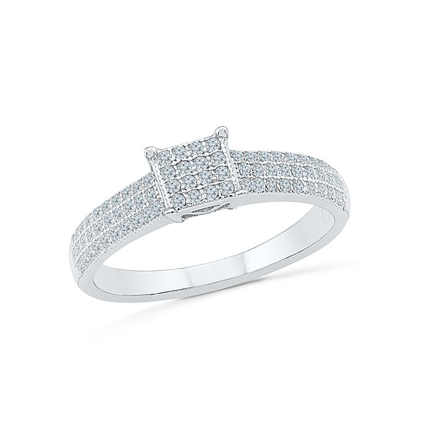 Studded Square Diamond Cocktail Ring