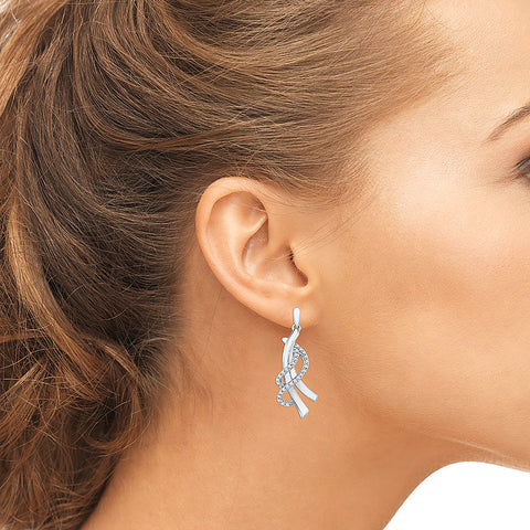 Royal Ribbon Diamond Dangler Earrings