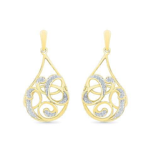 Fancy Framework Diamond Drop Earrings in 14k and 18k gold