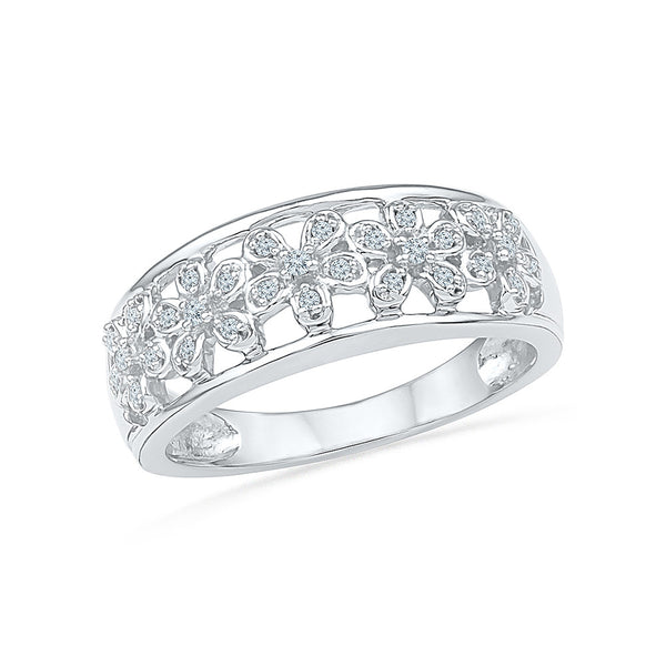 14kt / 18kt white and yellow gold Flower Flaunt Diamond Cocktail Ring in PRONG for women online