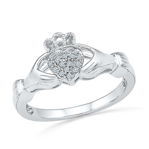 Claddagh Diamond Engagement Silver Ring