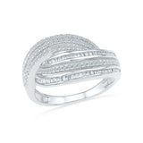 14kt / 18kt white and yellow gold Decorus Swirl Diamond Cocktail Ring in Prong and Miracle setting online for women