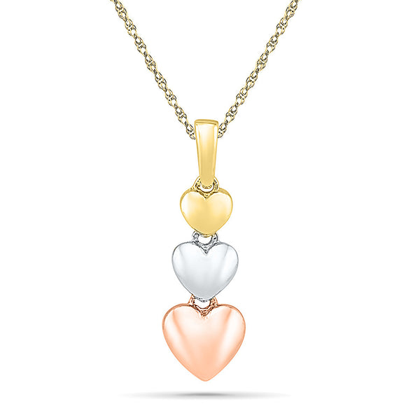 3 Tone Graduating Heart Gold Pendant