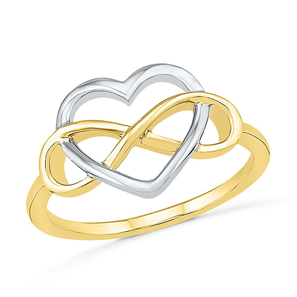Dual Tone Infinity Heart Gold Ring
